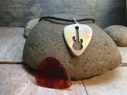 Guitar Pick Pendant solid Sterling Silver