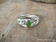 Bamboo Jade Ring in solid Sterling Silver