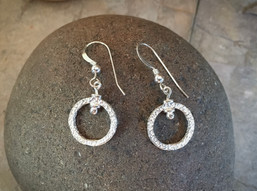 Rough Garden Stone Earrings solid Sterling Silver