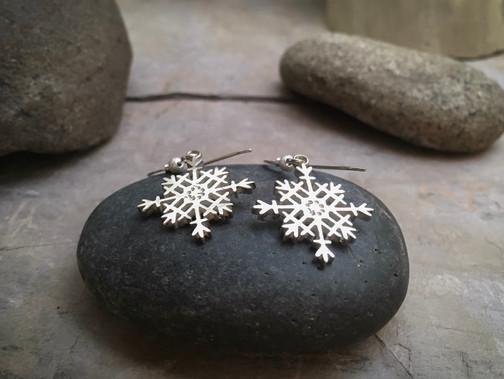 Snowflake Earrings solid Sterling Silver