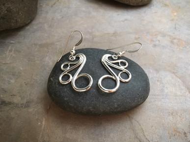 """Fancy Earrings """"large"""" solid Sterling Silver"""