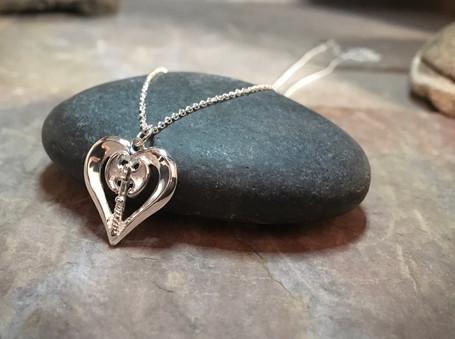 Labrys Heart Pendant solid Sterling Silver