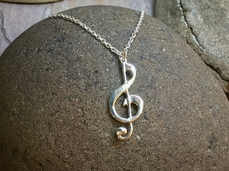 G-Clef Pendant solid Sterling Silver