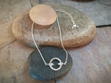 Rough Garden Stone Anklet solid Sterling Silver