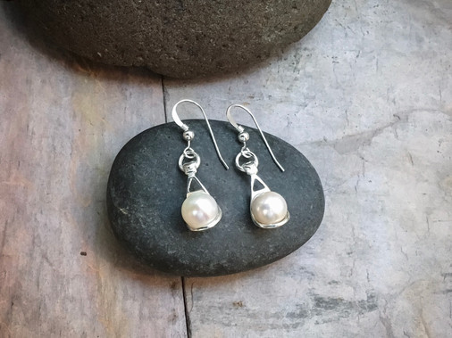 Pearl Drop Earrings solid Sterling Silver