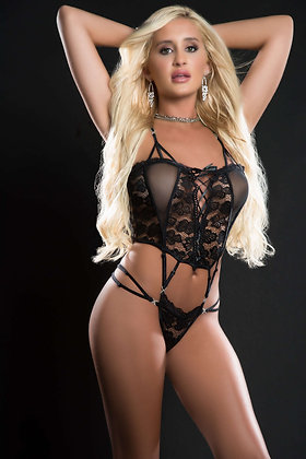 1 pc Butterfly Teddy With Daring Lace -Up Front  Thong and See-Through Detail