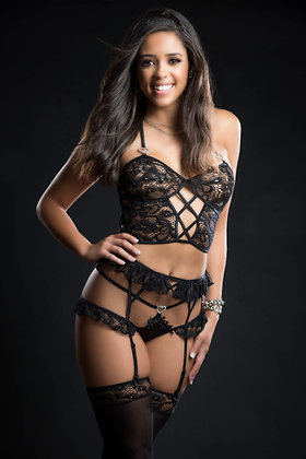 4 pc Cami Top Lingerie Set With Ruffled Garter Belt and Stockings