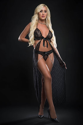 2 pc Cut Out Open Front Flyaway Night Gown Adorned Pearl Chains and Panty