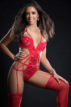 2 pc Embroidered Lace Garter Teddy and Stockings