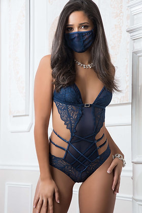 2 pc Mask Up Lace Teddy
