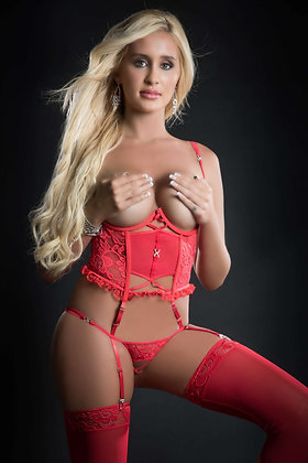 2 pc Teddy Garter Corset With Open Cups and Open Crotch and Stockings