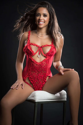 1 pc Queen of Hearts Laced Teddy With Open Rear  View Half Open Cups
