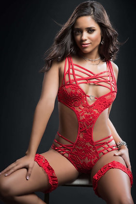 2 pc Caged Teddy and Lace Garter