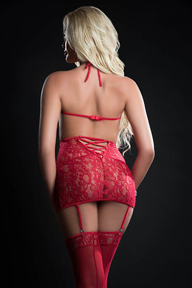 4 pc Curve Hugging Dress With Panty Garter and  Pasties
