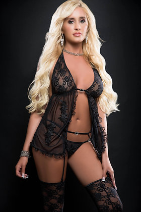 3 pc Sensual Sheer Babydoll Open Front w/ Embroidery Applique