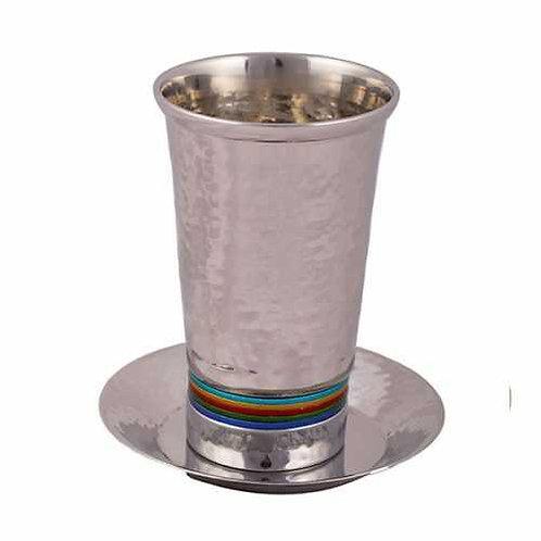 כוס קידוש - עבודת פטיש - טבעות צבעוני