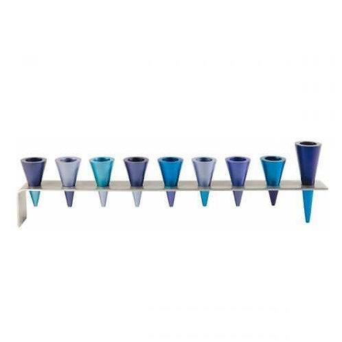 חנוכיה פס מתכת - קונוסים - כחול