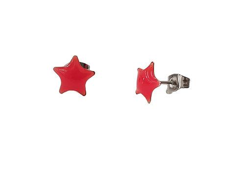 עגילים צמודים כוכב אדום היפו-אלרגניים
