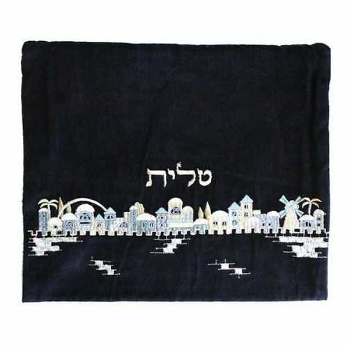 תיק טלית - קטיפה - ירושלים - כחול