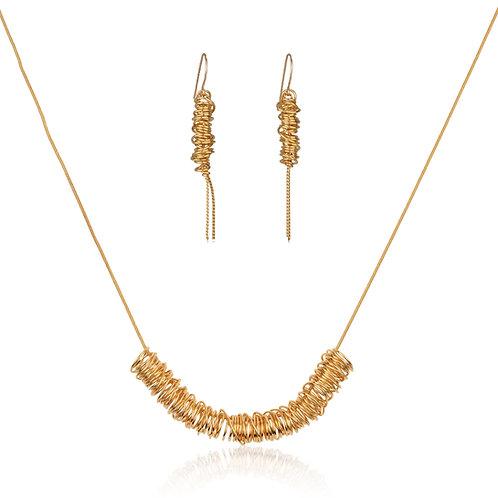 שרשרת ועגילי סליל זהב