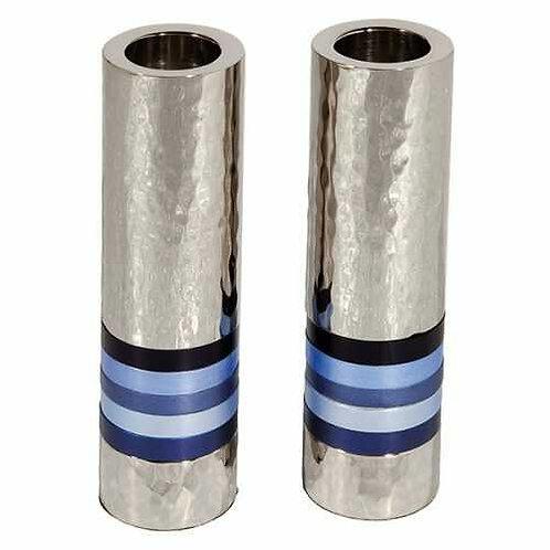 פמוטים גליל בעבודת פטיש - 5 טבעות כחול
