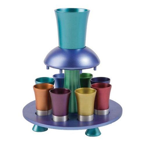 מזרקה - כוס קידוש + 8 כוסיות - צבעוני
