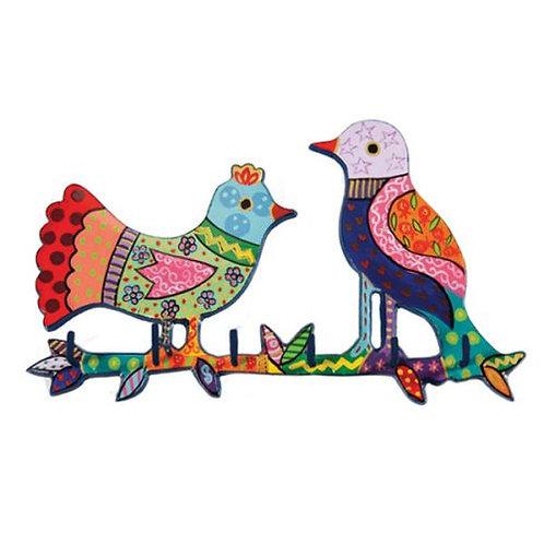 מתלה למפתחות בחיתוך לייזר וציור יד - ציפורים