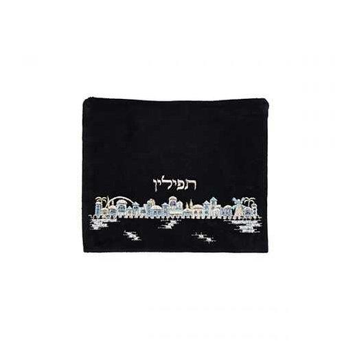 תיק תפילין - קטיפה - ירושלים כחול