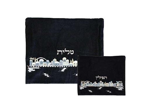 סט תיק טלית ותפילין קטיפה - ירושלים כחול