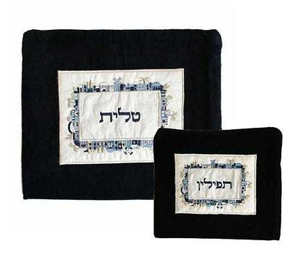 סט תיק טלית ותפילין קטיפה - ירושלים