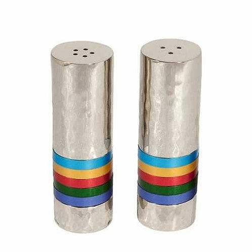 מלח פלפל - עבודת פטיש - 5 טבעות - צבעוני
