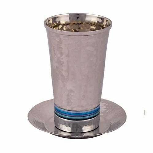 כוס קידוש - עבודת פטיש - טבעות כחול