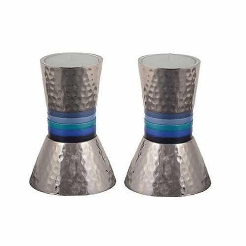 פמוטים קונוס קטן בעבודת פטיש - 5 טבעות כחול