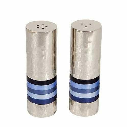 מלח פלפל - עבודת פטיש - 5 טבעות - כחול