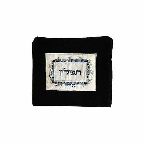 תיק תפילין - קטיפה + אפליקציה - ירושלים - כחול
