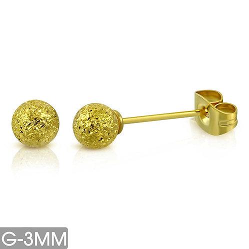 עגילי כדור לייזר זהב (במבחר גדלים) היפו-אלרגניים