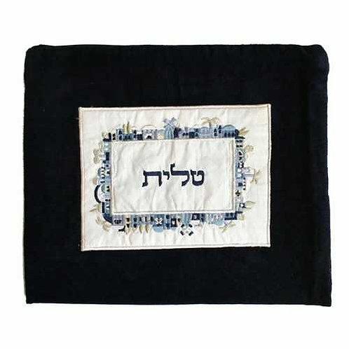 תיק טלית - קטיפה + אפליקציה - ירושלים - כחול