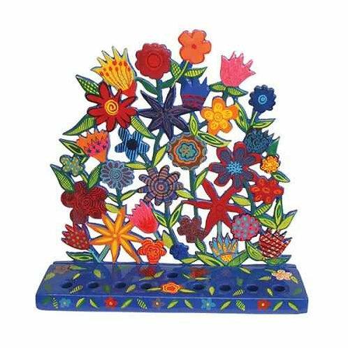 חנוכיה - חיתוך לייזר מצוירת - פרחים
