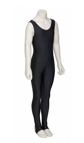 Lycra sleeveless plain front dance catsuit with stirrups