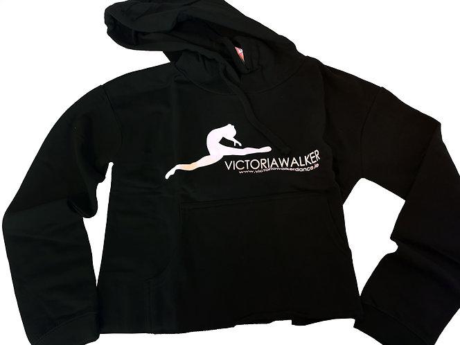 Black Victoria Walker Dance Cropped Hoodie