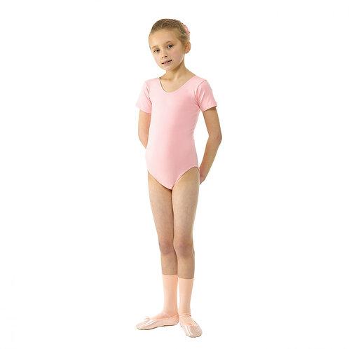 Short sleeve plain front pink leotard