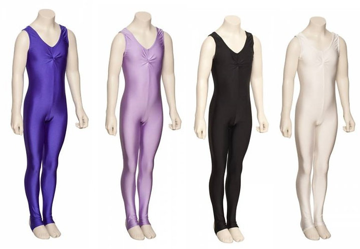 Lycra sleeveless ruched catsuit with stirrups