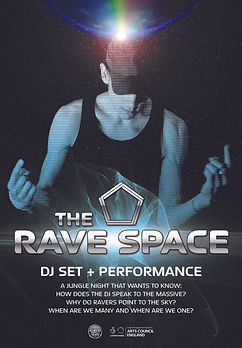 Person with cap on their head surrounded by galaxy and orb with text The Rave Space