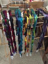 Hand dyed yarn drying