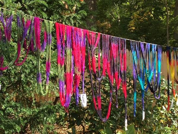 Dyed yarn drying