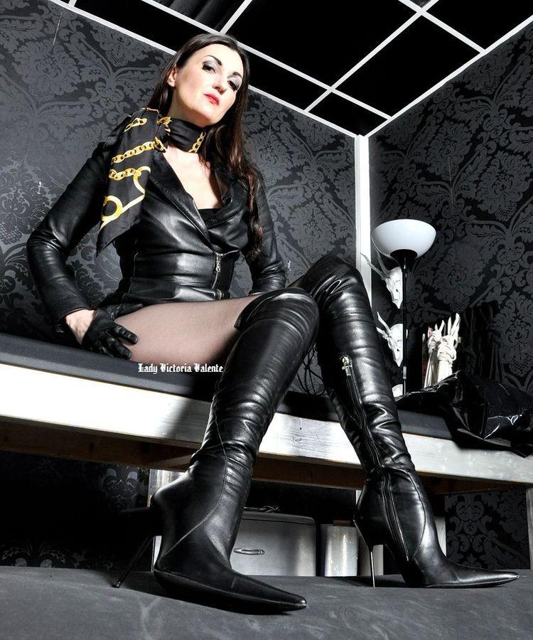 mistress dominatrix leather silk scarf