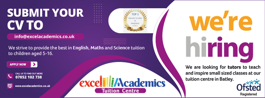 Teach and inspire small sized classes at our tuition centre in Batley. Online tutoring.Submit your CV and join our excellent team of teachers and tutors. Vacancies at Batley Dewsbury tuition centre recruiting. We provide the best in English, Maths and Science tuition to children ages 5-16. Apply here. Send your CV and cover letter.