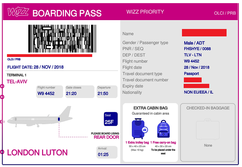 כרטיס עלייה למטוס ממוחשב של וויז (הפרטים האיישים הוסתרו)