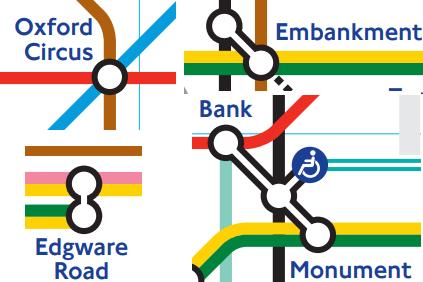 סימונים במפת הטיוב המעידים על אורך המעבר בין קווים שונים