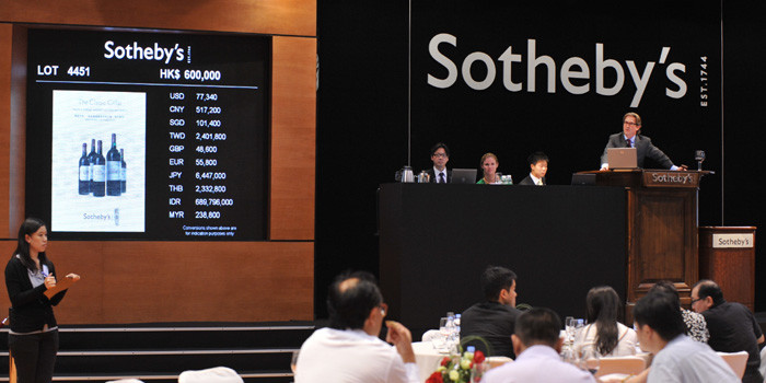 wine auction at Sotheby's